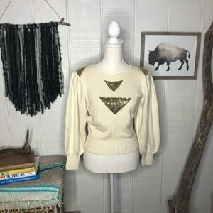 Vintage cream sweater w/ gold triangle sparkle